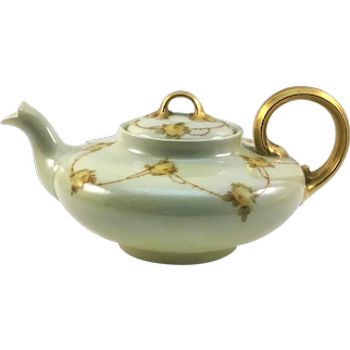 Limoges Squat French Teapot Rose Garlands Heavy Gold
