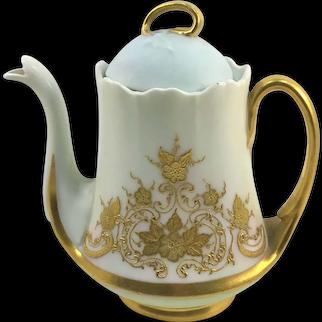 Limoges Heavy Gold Floral Enameled Teapot