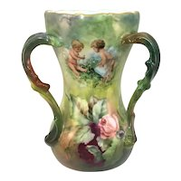 Limoges Loving Cup Cherubs with Pink and Purple Roses