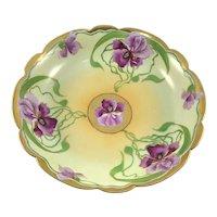 Limoges Stouffer Studios Pink and Purple Iris Bowl