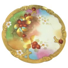 Rare Pickard Limoges Cherry Blossom and Cherries Charger Artist Signed Minnie Pickard