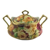 Nippon Biscuit Jar Deep Pink and Yellow Roses