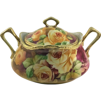 Nippon Biscuit Jar Pink and Yellow Roses
