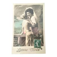 French Postcard Bonne Annee Lady With Dog