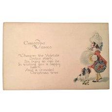 Postcard Christmas Wishes Girl and Dog