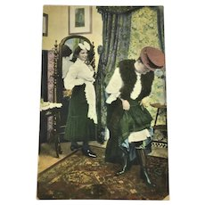 Antique Postcard Undivided Back Photo Victorian Woman Dressing with Maid
