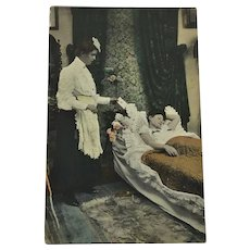 Antique Postcard Undivided Back Photo Victorian Woman on Fainting Couch