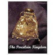 Vintage goldtone mesh gatetop miniature purse with drops