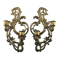 Vintage Hollywood Regency Pair Sexton Candle Holder Brackets