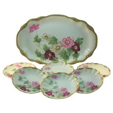French Limoges Ice Cream Set Red Pink White Anemones Signed Roby
