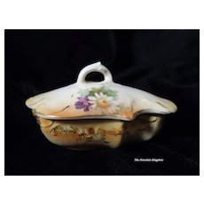 RS Prussia porcelain trinket dresser box with Daisies Art Nouveau covered box