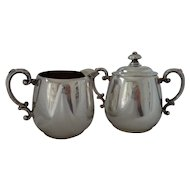 William Rogers Silverplate Three Piece Cream Pitcher & Covered Sugar Bowl