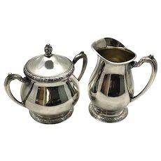 Queen Bess Silver Plate Sugar Bowl and Cream Pitcher Oneida Tudor Plate