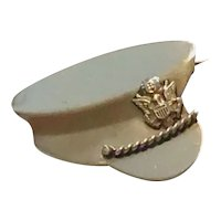 WWII Sterling Silver Military Army Cap Sweetheart Pin
