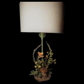 Vintage Italian Toleware Fern Lamp with Butterflies Flowers Toadstools Oak Leaves and Acorns