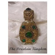 Czechoslovakia Jeweled Mini Perfume Bottle Gilt Caged Czech Perfume