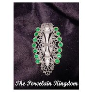 Art Deco fur clip emerald rhinestones & filigree