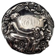 Sterling silver brilliant cut glass Art Nouveau mermaid dresser jar box 1903