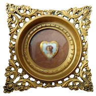 Cameo Creations framed porcelain heart shaped jeweled plaque of Art Nouveau woman by Georges Leveen