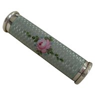 Sterling Silver Blue Guilloche Enamel Hinged Mechanical Lipstick Holder with Pink Roses c. 1930