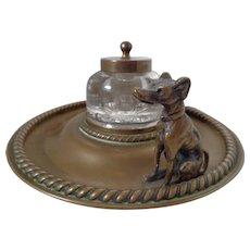 Bronze Greyhound Whippet 19th Century Inkwell