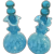 Vintage Pair Blue and White Spatter Glass Perfume Bottles
