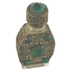 Jeweled Czech Gilt Caged Perfume Bottle