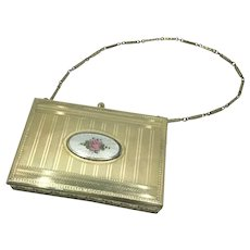 Guilloche Enamel Rose Silver Plate Powder Compact Purse