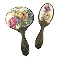 Art Nouveau Porcelain Mirror and Brush Red and Yellow Roses c.1890