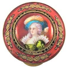 French Gilt Enamel Portrait Vinaigrette
