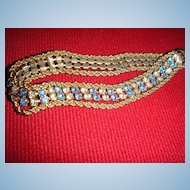Beautifully Feminine Tennis Bracelet With Blue and Clear Rhinestones