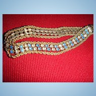 Beautifully Feminine Tennis Bracelet With Blue and Clear Rhinestones
