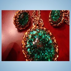 Japan Demi-Parure Large Green/Gold Colored Foiled Cabochon Necklace and Earrings