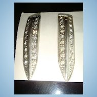 Pair of Unmarked Art Deco Arrow Pins With Rhinestones C Clasp