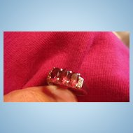 Triple Pink Stones & Clear Rhinestone STERLING Silver Accent Ring Size 8 1/4-8 1/2