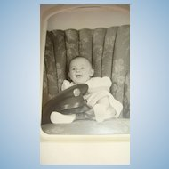 Cabinet Card Photo Baby With U.S. Army Hat Cap In Oversized Chair