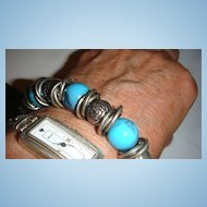 Stretchy Bracelet Silvertone Rings, Marbled Turquoise Beads and Baubles