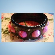 Modernist Lucite Bracelet Faceted Pink Stones & Clear Rhinestones