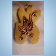Whimsical Chicken or Duck  Carved Bone Pendant
