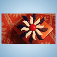 Very Large Patriotic Red, White & Blue Enamel Flower Brooch Modernist