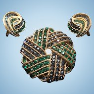 1960's Crown Trifari Demi Parure Brooch Earrings  Emerald Green Sapphire Blue