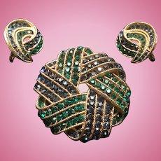 1960's Crown Trifari Demi Parure Brooch Earrings  Emerald Green Sapphire Blue