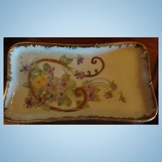 Purple & Yellow Violets, Leaves & Gold Gilt Trim Dresser Dish or Tray With Old Hanger Estate