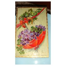 1912 German Happy New Year Postcard Parasol, Purple Violets, 4 Leaf Clovers, Horseshoe