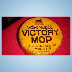 Vintage 'Liquid Veneer VICTORY MOP'  Mustard Color Advertising Tin