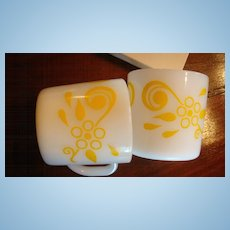 2 Great Milky White Glass With Yellow Fired on Paint Pattern Mugs