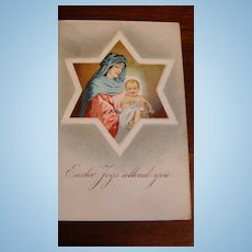 German Early 1900s Embossed Easter Postcard Star of David, Mary, The Messiah