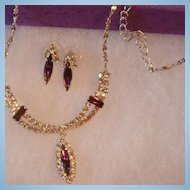 Perfect for Prom or Wedding Silvertone Necklace & Earrings With Clear Rhinestones and Purple Amethyst Colored Navettes