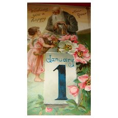 1908 Father Time Happy New Year Postcard Raphael Tuck & Son, Angel,  Dogwood Blossoms