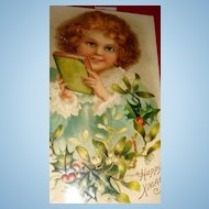 Beautiful Victorian Child With Book Christmas Postcard Germany